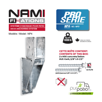 Nami Fixation NP4 ancrage patio support