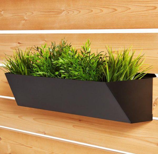 jardinière rectangulaire longue noire