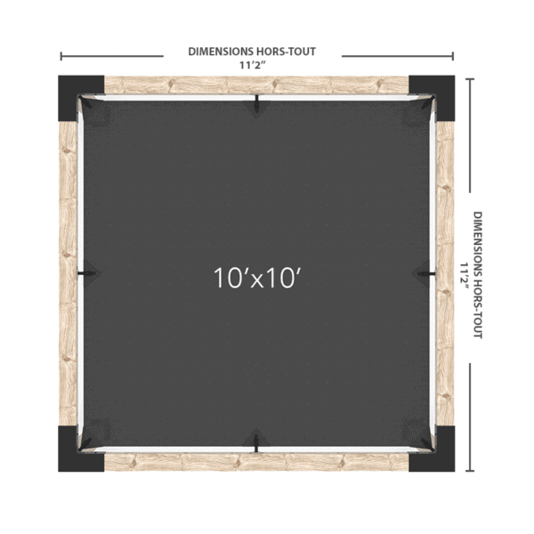pergola voile mur 10x10