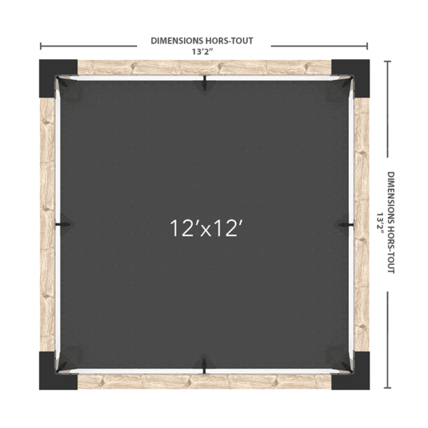 Pergola avec voile 12x12 dimensions
