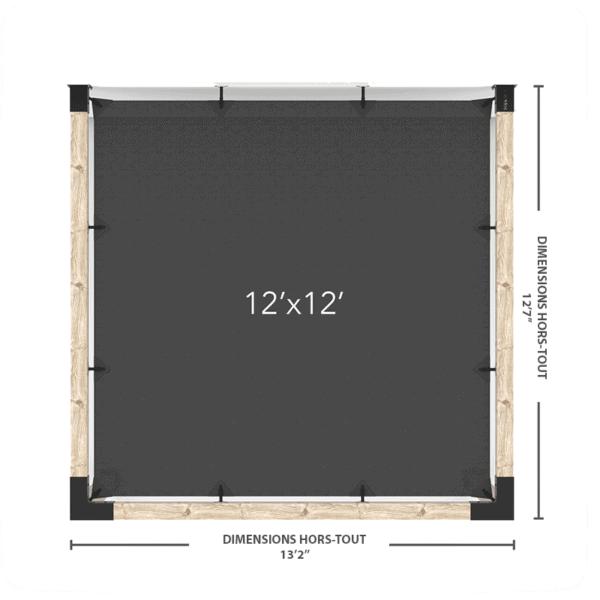 pergola murale voile 12x12