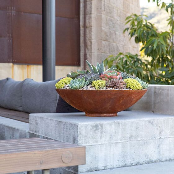 jardinière bol acier corten lifestyle