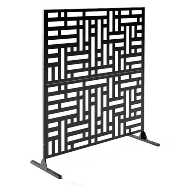 paravent intimité 2 panneaux noir