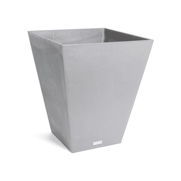 jardinière conique carrée grise