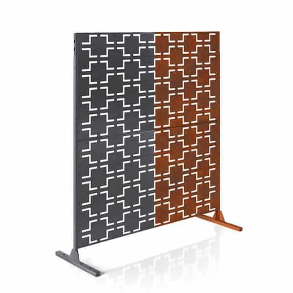 paravent intimité 2 panneaux acier corten