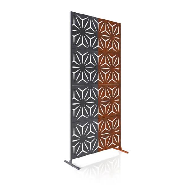 paravent intimité 4 panneaux acier corten