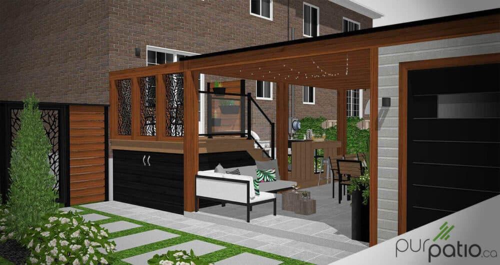 photo couverture patio avec gazebo moderne montreal