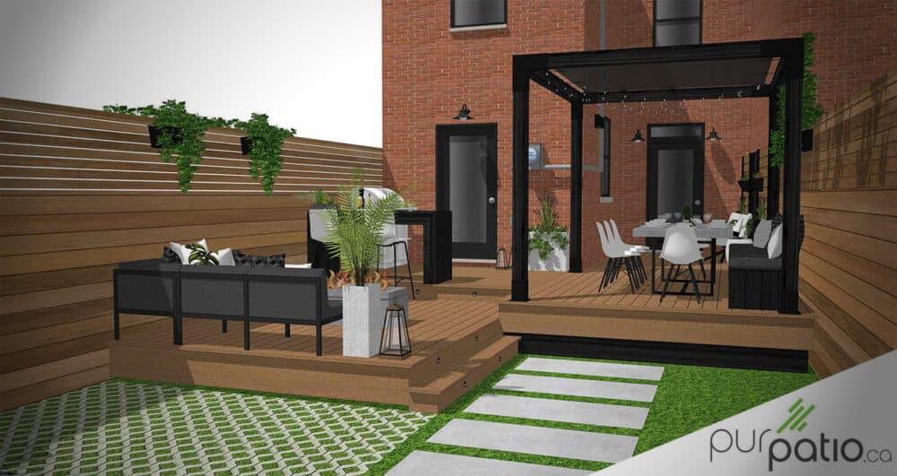 photo couverture terrasse composite avec pergola montreal
