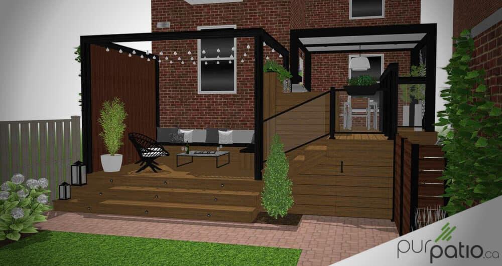 photo couverture terrasse intime avec pergola Montreal